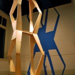 Pillar by Day. 2010. sawhorses, wood glue, bolts, wood putty, painter&#039;s tape